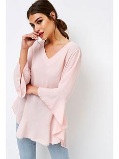 girls-on-film-flute-sleeve-dip-hem-blouse-pink