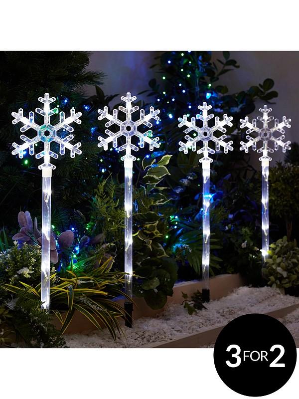 Snowflake Pathfinder Outdoor Christmas Lights 4 Pack
