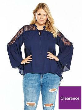 v-by-very-curve-lace-yoke-fluted-sleeve-blouse-navy