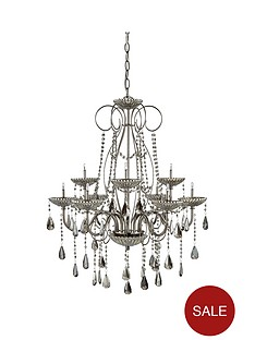 Chandeliers ceiling lights lighting home garden www luxe collection gabriella black chrome and crystal 9 light chandelier mozeypictures Image collections