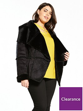 v-by-very-curve-shearling-edge-to-edge-coat-black