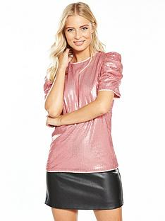 v-by-very-ruched-sleeve-sequin-top