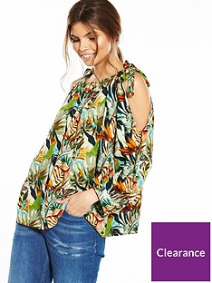 yas-tropical-print-cold-shoulder-tie-top