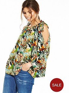 yas-tropical-print-cold-shoulder-tie-top