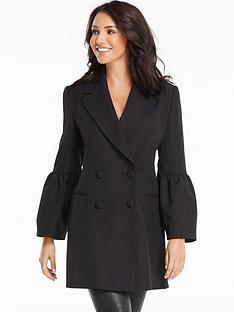 michelle-keegan-fluted-sleeve-double-breasted-blazer-black