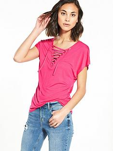 vero-moda-rykiel-sleeveless-lace-up-top-pink