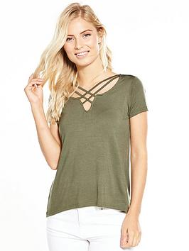 V By Very Cross Over Front Jersey TShirt  Khaki