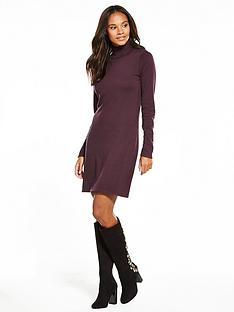 v-by-very-roll-neck-fit-and-flare-knitted-dress