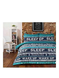 retro-text-easy-care-duvet-cover-set