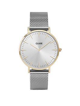 cluse-cluse-la-bohegraveme-gold-case-silver-mesh-strap-ladies-watch