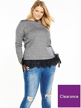 v-by-very-curve-lace-trim-tie-side-knit-top-grey
