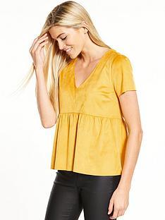 vila-then-short-sleeve-top-yellow