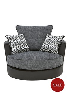 geo-fabric-and-faux-leather-swivel-chair