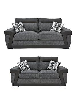 Very Geo Fabric And Faux Leather 3-Seater + 2-Seater Sofa Set (Buy And  ... Picture