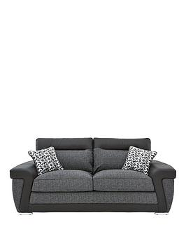 Very Geo Fabric And Faux Leather 3-Seater Sofa Picture