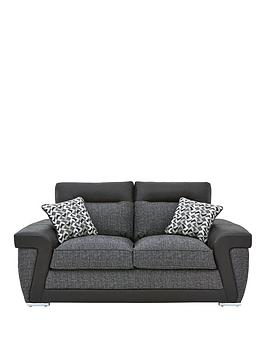 Very Geo Fabric And Faux Leather 2-Seater Sofa Picture