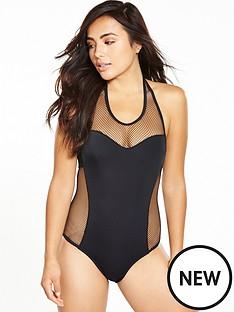 pour-moi-glamazonnbspmesh-halternbspneck-swimsuit-black
