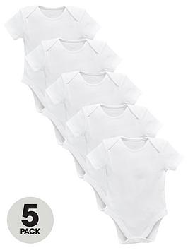 V by Very V By Very Baby Unisex 5 Pack Short Sleeve Bodysuits - White Picture