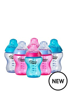 tommee-tippee-tommee-tippee-closer-to-nature-6x260ml9floz-colour-my-world-girl-feeding-bottles