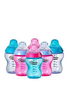 Tommee Tippee Tommee Tippee Closer To Nature 6X260Ml9Floz Colour My World Girl Feeding Bottles
