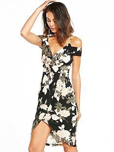 ax-paris-cold-shoulder-printed-wrap-front-dress