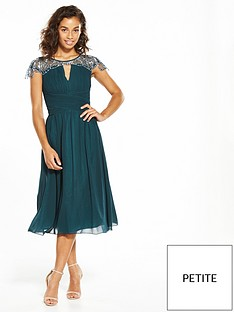 little-mistress-petite-cap-sleeve-embellished-midi-green