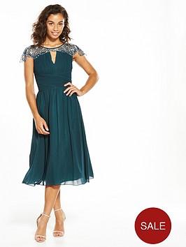 little-mistress-petite-cap-sleeve-embellished-midi-green