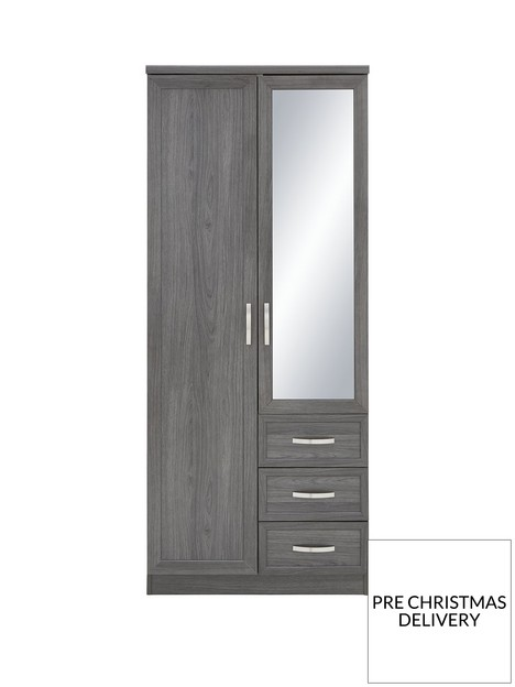 camberley-2-door-3-drawer-mirrored-wardrobe