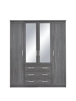 Very Camberley 4 Door 3 Drawer Mirrored Wardrobe Picture
