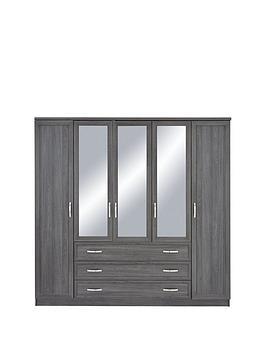 Very Camberley 5 Door 3 Drawer Mirrored Wardrobe Picture
