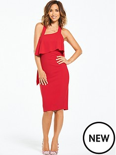 myleene-klass-ruffle-back-bodycon-dress-red