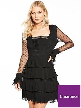 v-by-very-polka-dot-lace-ruffle-mini-dress-black