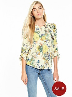 v-by-very-bow-detail-ruched-sleeve-blouse