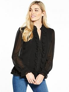 v-by-very-pintuck-ruffle-front-blouse