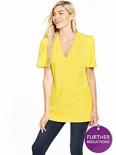 v-by-very-ruffle-sleeve-tunic-blouse-yellow