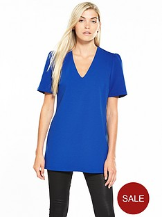 v-by-very-ruched-sleeve-tunic-cobalt