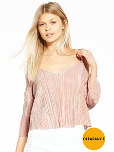 miss-selfridge-petite-cold-shoulder-plisse-top