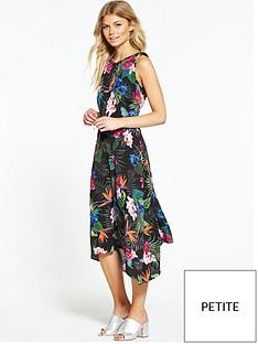 wallis-petite-palm-floral-hanky-hem-dress