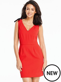 michelle-keegan-bow-trim-v-neck-dress