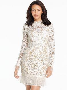 michelle-keegan-pleated-hem-lace-mini-dress