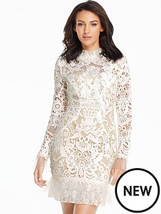 michelle-keegan-pleated-hem-lace-mini-dress