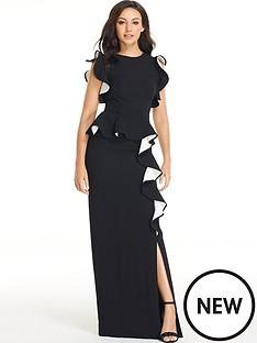 michelle-keegan-ruffle-front-maxi-dress