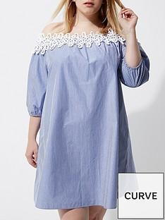 ri-plus-stripe-bardot-poplin-dress
