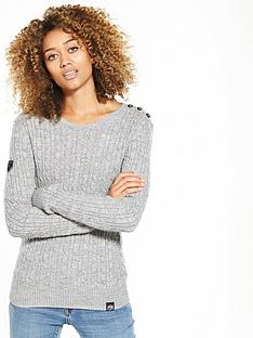 Superdry Croyde Cable Knit Jumper - Grey