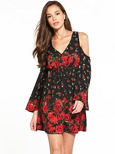river-island-printed-cold-shoulder-dress
