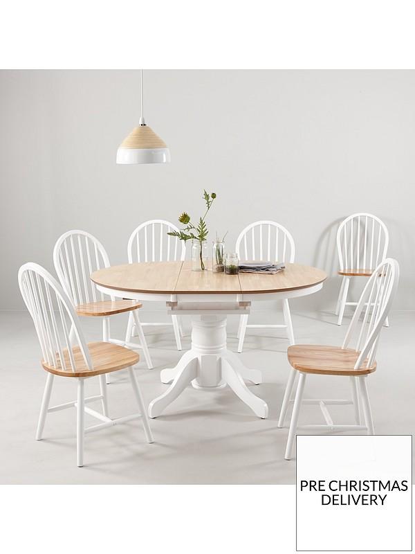Super Kentucky 100 130 Cm Extending Round Dining Table 6 Chairs Machost Co Dining Chair Design Ideas Machostcouk