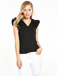 v-by-very-ruffle-shoulder-top-black