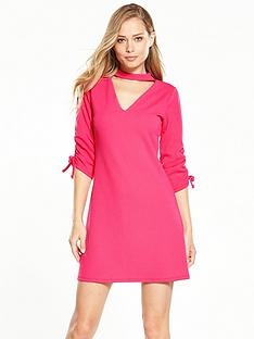 v-by-very-ruched-detail-choker-dress-hot-pink