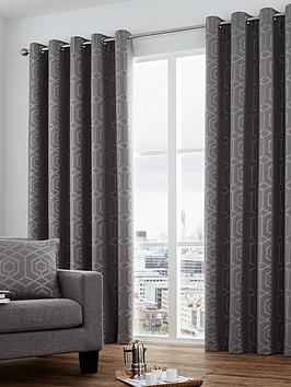 Curtina Camberwell Jacquard Lined Eyelet Curtains