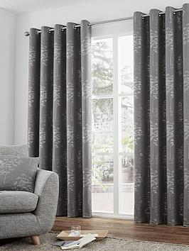 Curtina Curtina Elmwood Jacquard Lined Eyelet Curtains Picture
